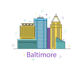 The Baltimore sketch. City sticker in lines. Vector in the outline