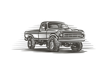 Offroad pickup car illustration. Vector.