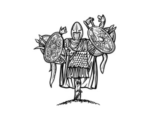 Spartan Armor Complete with Shield and Sword on the Wooden Pole Sign Symbol Vector