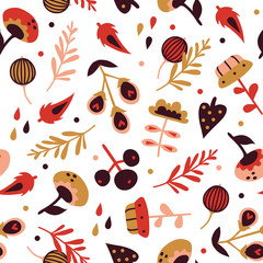 Vector seamless background pattern with abstract plants