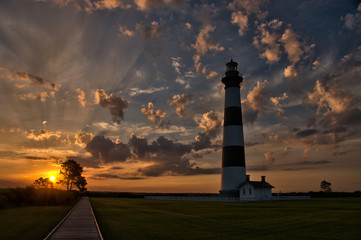 Sunrise at Bodie Island Lighthouse, in the Outer Banks of North Carolina