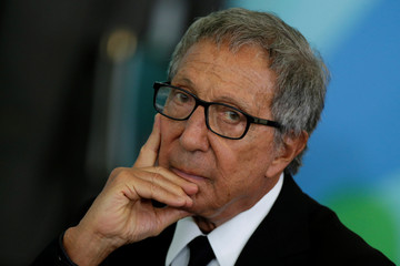 Abilio Diniz, the third largest Carrefour shareholder gestures during a meeting of the Council for Economic and Social Development (CDES) at the Planalto Palace in Brasilia