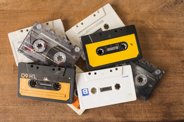 Cassette tapes on a wooden board