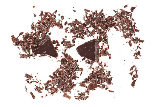Crushed chocolate shavings isolated on white background