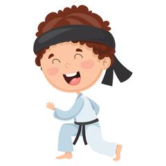 Vector Illustration Of Kid Making Karate