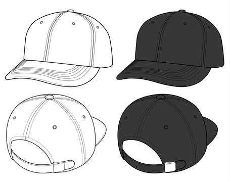 Basic ball Cap fashion flat technical drawing template