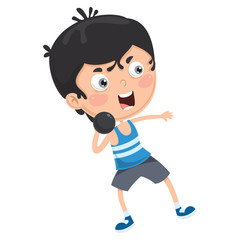 Vector Illustration Of Kid Throwing Shot