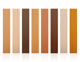 Wooden slats. Collection of wood boards, different colors, glazes, textures from various trees to choose - brown, dark, gray, light, red, yellow, orange decor models - vector on white background.