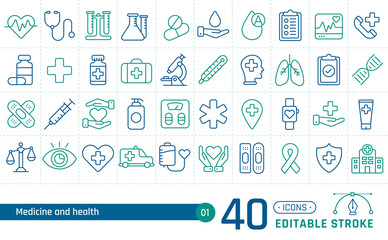 Medicine and health line icons set. Suitable for banner, mobile application, website. Editable stroke