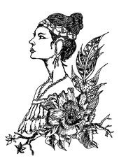 Hand drawn traditional woman