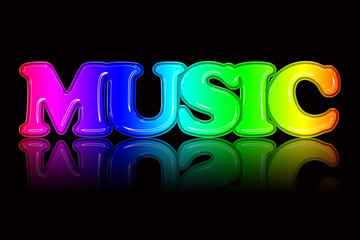 Colorful 'MUSIC' text illustration
