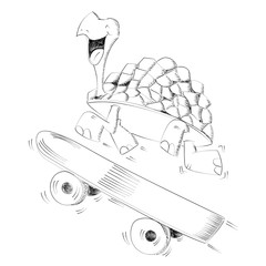 Happy smiling turtle running with a skateboard for speed concept - Hand drawn with ink pen - Vector illustration monochrome, black and white, isolated on white background