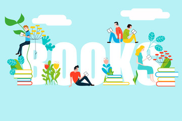Happy people reading on books text - vector colorful illustration isolated on background