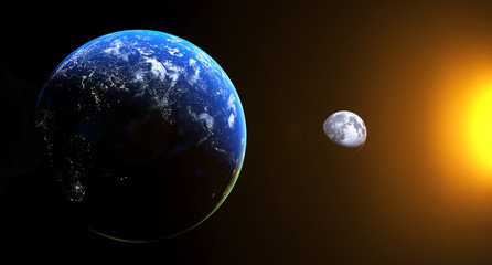 3D Rendering Of Realistic View From The Earth To The Moon With Sun Shine The Elements Of This Image Furnished By NASA For Textures