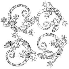 Vector Tribal Decorative Lizard. Patterned Design, Tattoo
