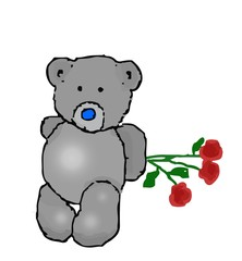 Vector illustration of a teddy bear hides behind back a bouquet of three rose flowers. Template for greeting card with Valentines day, Womens day and birthday