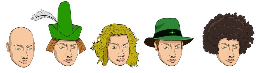 Vector cartoon doodle set of human heads with putted on wide brimmed green hat and pointed hat with the feather, sandy hairs head, bold and afro head isolated on a white background.