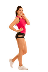 Active young fit woman pose in studio