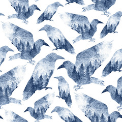Seamles pattern of monochrome ravens with a forest inside. Birds in the wild painted with watercolor and isolated on white. Background design for fabric, wallpapers, gift wrapping paper, scrapbooking.