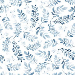 Watercolor seamless pattern of blue branches isolated on white background. Winter mood. Floral background for fabric, wallpapers, gift wrapping paper, scrapbooking.