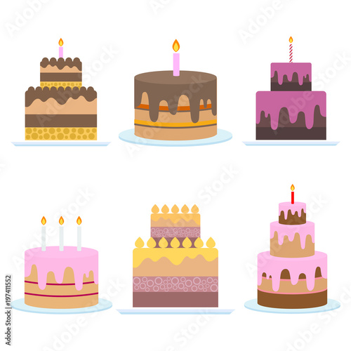 Birthday Cake Vector Sweet Cream Pie With Candles On White