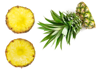 cut pineapple on a white background