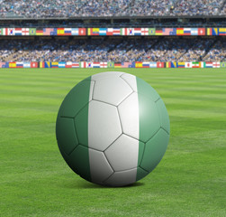 Soccer ball ball with the national flag of NIGERIA ball with stadium