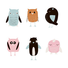 Set of cute owls. Vector hand drawn illustration.