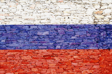 Russia flag on a brick background