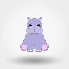 Hippo baby. Icon. Vector. Flat.