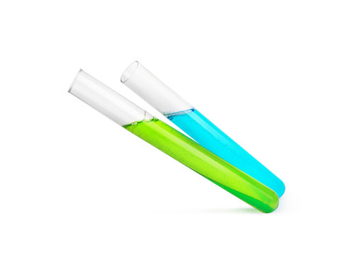 medical test tubes with green and blue liquid isolated on white background