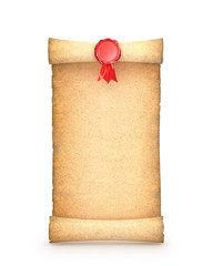 Old paper scroll with  seal. Isolated on white background. 3d render