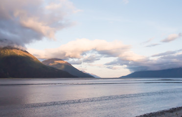 Senic Arc Clouds in the Morning over Turnagain Arm Waterway of Cook Inlet Anchorage Alaska