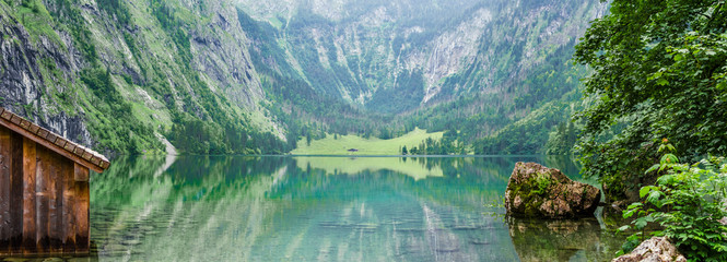 Panorama of mountain lake Obersee in German Alps. Bavaria, Germany.