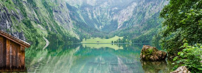 Panorama of mountain lake Obersee in German Alps. Bavaria, Germany.