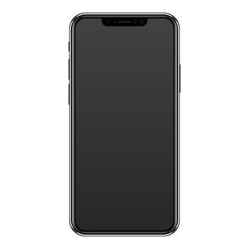 Modern frameless black smartphone tablet with bangs.