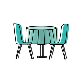 furniture restaurant pair chair and round table vector illustration