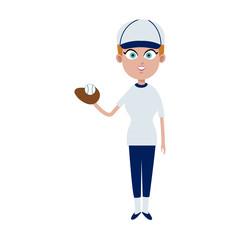 Woman baseball player cartoon vector illustration graphic design