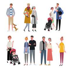色々な世代の人々 イラスト セット