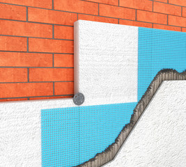 Detail of Thermal insulation of a brick wall with polyurethane panels on a white background - 3d illustration