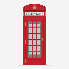Red London Street Phone Booth vector