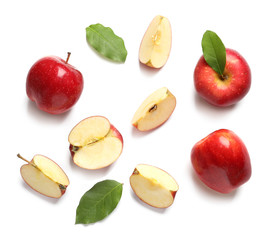 Fototapete - Ripe red apples on white background, flat lay