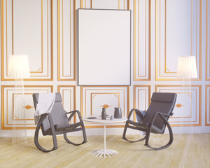 Layout poster with chair and hippest fabric minimalism interior background 3D illustration