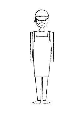 beard male barista with uniform apron and cap vector illustration sketch design