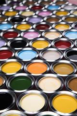 Colorful paint cans set