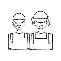 couple barista characters employees with apron and cap vector illustration sketch design