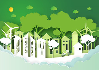 Eco green urban city and nature forest background template.Save the world with ecology and environment conservation creative idea concept paper art style.Vector illustration.