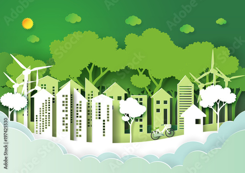 Eco Green Urban City And Nature Forest Background Template
