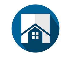 circle blue house home housing residence residential real estate image vector icon logo symbol