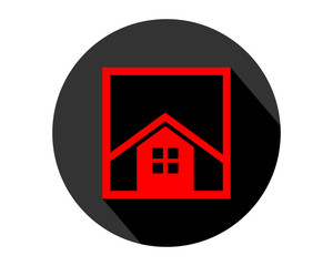 red rectangle house home housing residence residential real estate image vector icon logo symbol